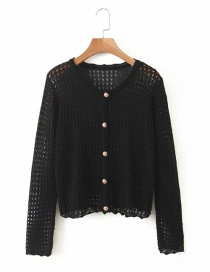 Fashion Black Hollow Button Cardigan Sweater