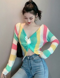 Fashion White Color-striped Knotted Backless Long-sleeved Sweater