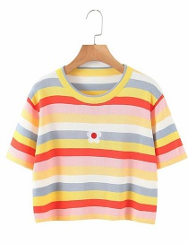 Fashion Color Color-striped Embroidery Short Sleeve Top