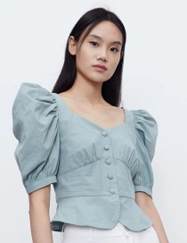 Fashion Blue Square Collar Puff Sleeve Loose Shirt