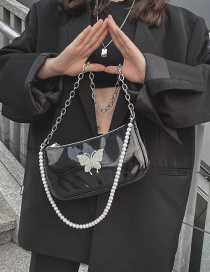 Fashion Black Printed Butterfly Chain Pearl Shoulder Bag