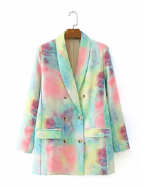 Fashion Color Mixing Tie-dye Double-breasted Suit Jacket
