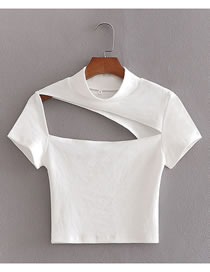 Fashion White Irregular T-shirt With Front And Back Cutouts