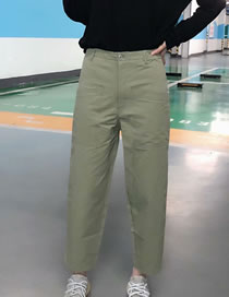 Fashion Armygreen Straight Trousers With Belt