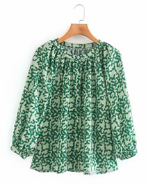 Fashion Green Printed Round Neck Puff Sleeve Single Breasted Top