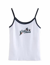 Fashion White Bird Letter Embroidered Camisole