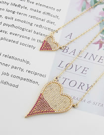 Fashion Gold Color Matching Love Copper And Zircon Multi-layer Necklace