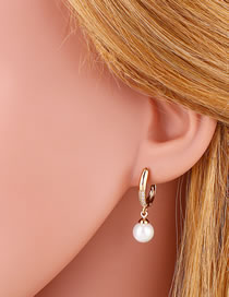 Fashion Golden Water Drop Pearl And Diamond Round Earrings