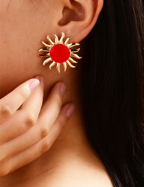 Fashion Red Gold-plated Oil Drop Sunflower Earrings