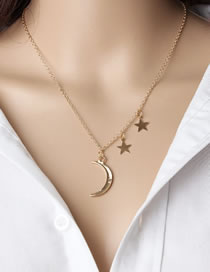 Fashion Golden Moon Five-pointed Star Alloy Multi-layer Necklace