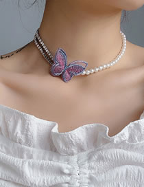 Fashion White Heavy Industry Gold Silk Embroidery Butterfly Necklace