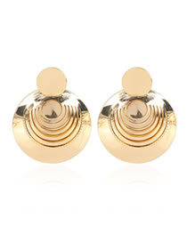 Fashion Golden Textured Round Alloy Earrings