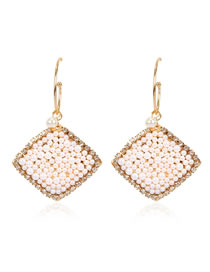 Fashion Golden Geometrical Diamond Earrings With Alloy Pearls And Diamonds