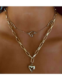 Fashion Golden Love Alloy Hollow Multi-layer Necklace