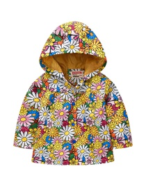 Fashion Color Mixing Spring And Autumn Sleeve Printed Hooded Jacket