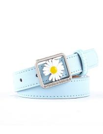 Fashion Sky Blue Daisy Concave Belt
