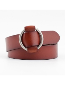 Fashion Camel Round Buckle Needle-free Punch-free Smooth Buckle Belt