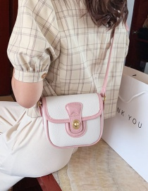 Fashion Pink One-shoulder Crossbody Bag With Stitching Contrast Lock