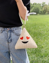 Fashion Red Pearl Straw Embroidered Shoulder Bag