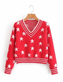 Fashion Red Pentagram V-neck Hem Dog Chew Knitted Pullover
