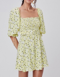 Fashion Yellow Floral Print Tethered Puff Sleeve Dress