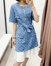 Fashion Blue Denim Check Lace Up Dress With Receive Waist