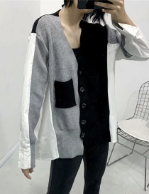 Fashion Black Single-breasted Sweater With Asymmetric Stitching