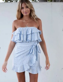 Fashion Blue Bandeau Embroidered Tether Strap Ruffle Dress