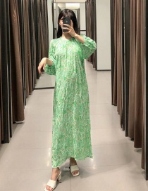 Fashion Green Printed Round Neck Single-breasted Shirt Dress