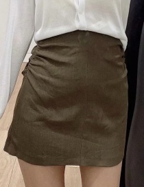 Fashion Dark Brown Linen Pleated Stitching Skirt