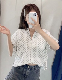 Fashion White Linen Polka Dot Short Shirt