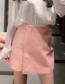 Fashion Pink Double-breasted Split Solid Color Short Skirt