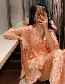 Fashion Orange Flower-printed Single-breasted Pajama Shirt