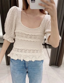 Fashion Beige Jacquard Mesh Knitted Top