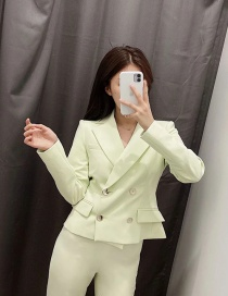 Fashion Fluorescent Green Double-breasted Short Solid Color Blazer