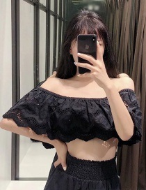 Fashion Black Cutout Embroidered Short-shoulder Top