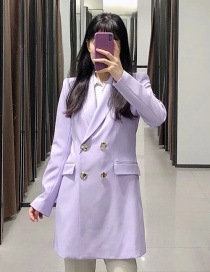 Fashion Purple Double-breasted Long Jacket With Flap Pockets
