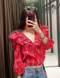 Fashion Red Hollow Embroidery Ruffled V-neck Top