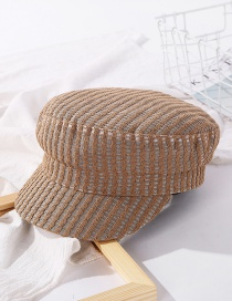 Fashion Coffee Color Cutout Striped Solid Color Hat