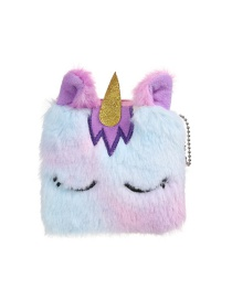 Fashion Purple Square Unicorn Plush Children's Wallet