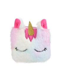 Fashion Rose Red Square Unicorn Plush Children's Wallet