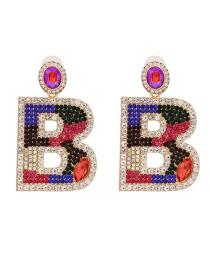 Fashion Color Alphabet Pierced Earrings With Diamonds