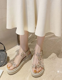 Fashion Creamy-white Flower Transparent Belt Muffin Heel Sandals
