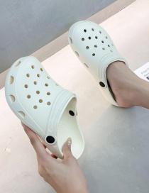 Fashion White Baotou Solid Color Flat Bottom Hole Slippers