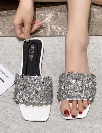 Fashion White Sequined Square Head Wear Flat Bottom Sandals And Slippers