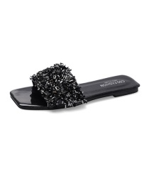 Fashion Black Sequined Square Head Wear Flat Bottom Sandals And Slippers