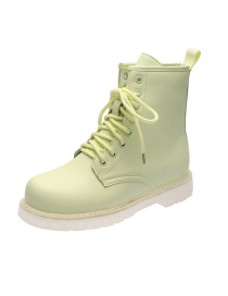 Fashion Light Green Lace-up Flat Short Martin Boots