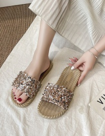 Fashion Golden Flat Bottom Sandals And Slippers With Sequins