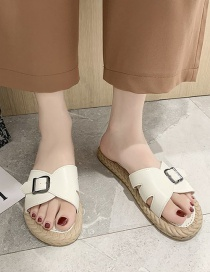 Fashion White Flat Sandals With Belt Buckle