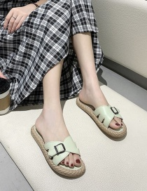 Fashion Green Flat Sandals With Belt Buckle